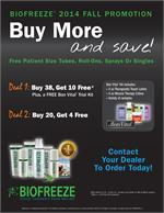 Biofreeze Special DEAL#1 (Buy 38, Get 10 FREE.  PLUS a FREE Bon Vital Trial Kit)