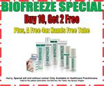 Biofreeze Special: Buy 10, Get 2 Free.  Plus a Free 4oz Hand's Free. Hurry, Special will end without notice!