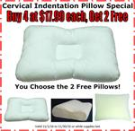 Cervical Indentation Chiropractic Pillow SPECIAL:  BUY 4 at $17.99 each, GET 2 FREE! (That's $11.99 each)