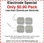 "2""x2"" Economy ""Great Value/Quality"" Electrodes, 4 Per Package. SPECIAL:  99 cents per package!"