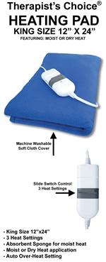 "King Size Moist/Dry Heating Pad, 12""x24"""